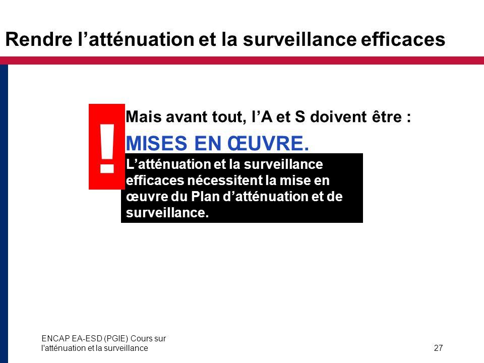 ENCAP EA-ESD (PGIE) Cours sur l'atténuation et la surveillance27 Rendre latténuation et la surveillance efficaces Mais avant tout, lA et S doivent êtr