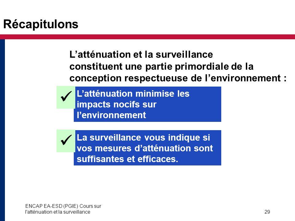 ENCAP EA-ESD (PGIE) Cours sur l'atténuation et la surveillance29 Récapitulons Latténuation minimise les impacts nocifs sur lenvironnement Latténuation