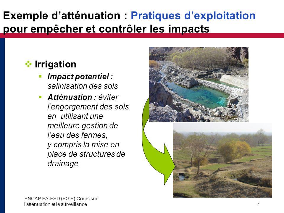 ENCAP EA-ESD (PGIE) Cours sur l'atténuation et la surveillance4 Exemple datténuation : Pratiques dexploitation pour empêcher et contrôler les impacts