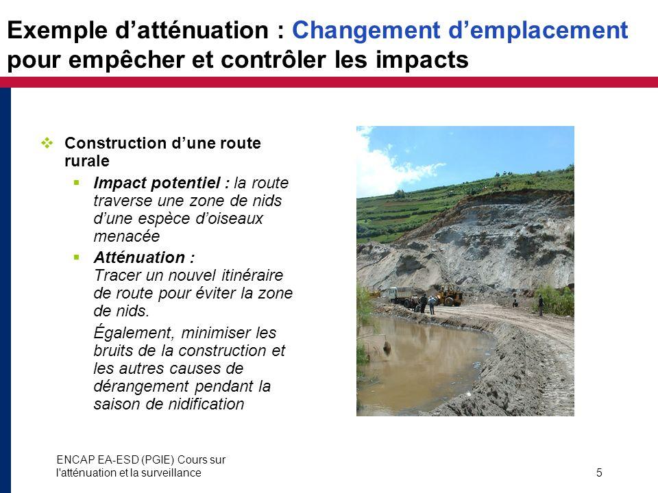 ENCAP EA-ESD (PGIE) Cours sur l'atténuation et la surveillance5 Exemple datténuation : Changement demplacement pour empêcher et contrôler les impacts
