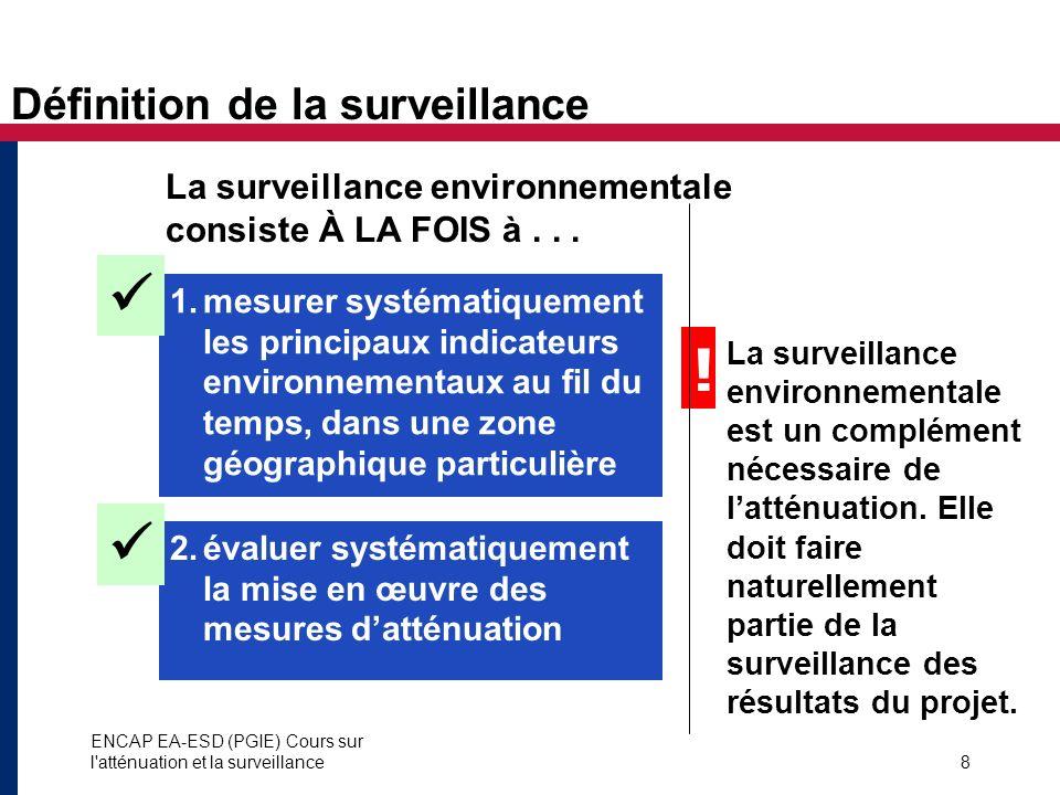 ENCAP EA-ESD (PGIE) Cours sur l'atténuation et la surveillance8 La surveillance environnementale consiste À LA FOIS à... 1.mesurer systématiquement le
