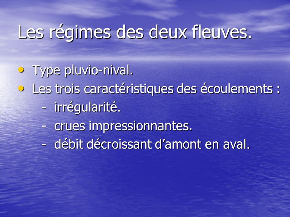 Les régimes des deux fleuves. Type pluvio-nival. Type pluvio-nival. Les trois caractéristiques des écoulements : Les trois caractéristiques des écoule