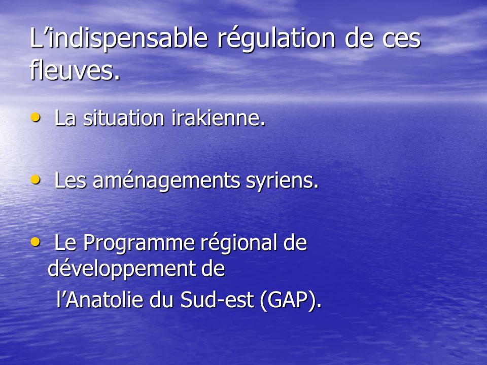 Lindispensable régulation de ces fleuves. La situation irakienne. La situation irakienne. Les aménagements syriens. Les aménagements syriens. Le Progr