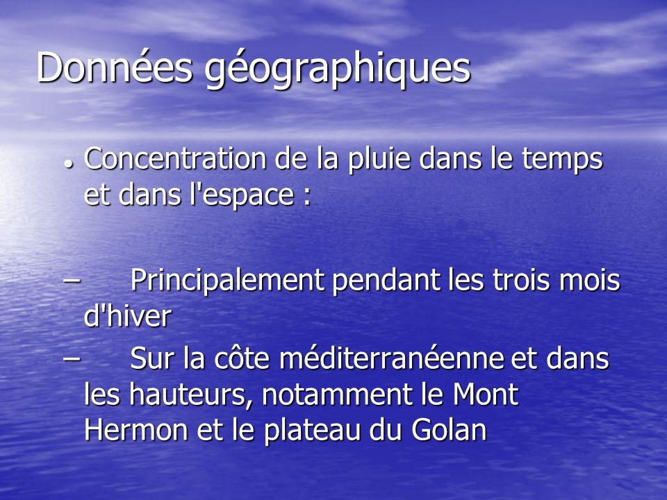 Données géographiques Concentration de la pluie dans le temps et dans l'espace : Concentration de la pluie dans le temps et dans l'espace : – Principa
