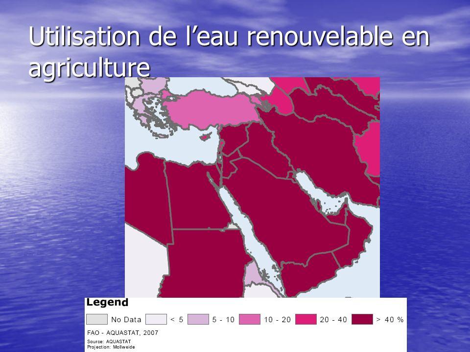 Population Population : 250 millions en 2004 Besoins en eaux par habitant: 2000m 3 /an Différence de disponibilité de leau entre les pays Disponibilité de leau pour les habitants les habitants