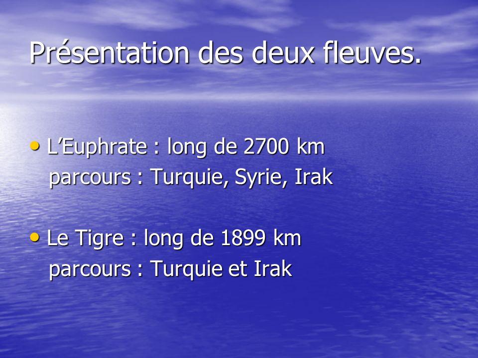 Présentation des deux fleuves. LEuphrate : long de 2700 km LEuphrate : long de 2700 km parcours : Turquie, Syrie, Irak parcours : Turquie, Syrie, Irak