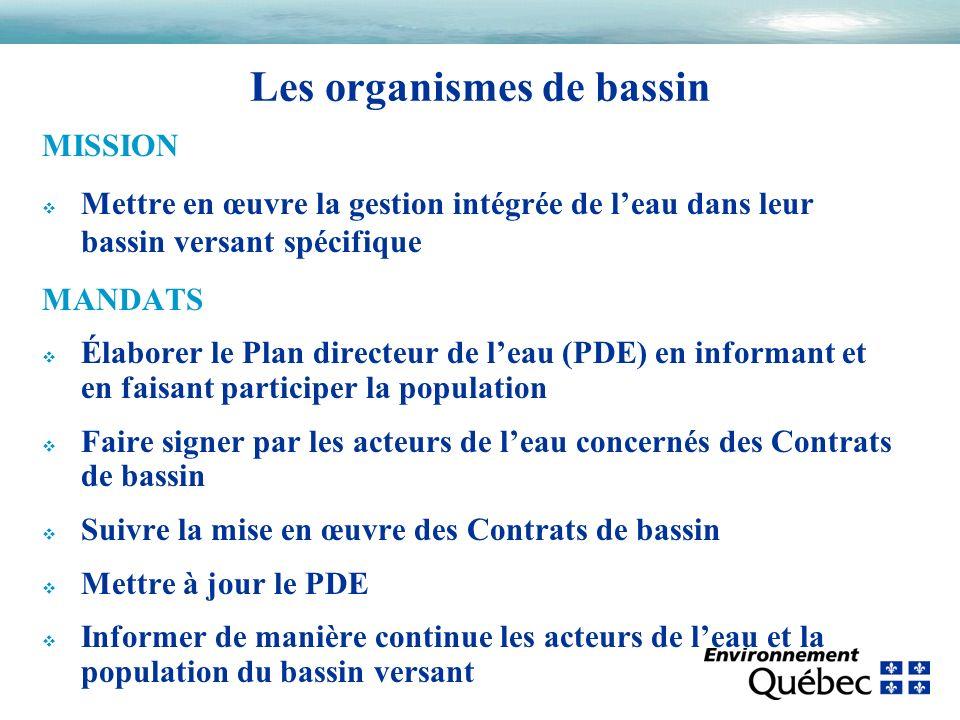MISSION v Mettre en œuvre la gestion intégrée de leau dans leur bassin versant spécifique MANDATS v Élaborer le Plan directeur de leau (PDE) en inform