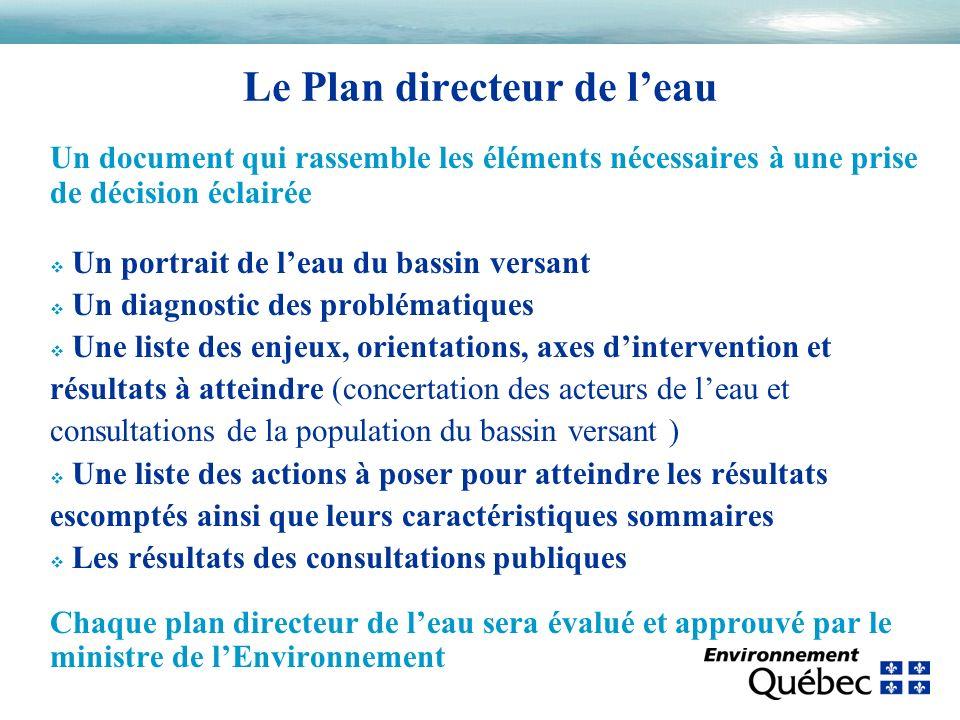 Un document qui rassemble les éléments nécessaires à une prise de décision éclairée v Un portrait de leau du bassin versant v Un diagnostic des problé