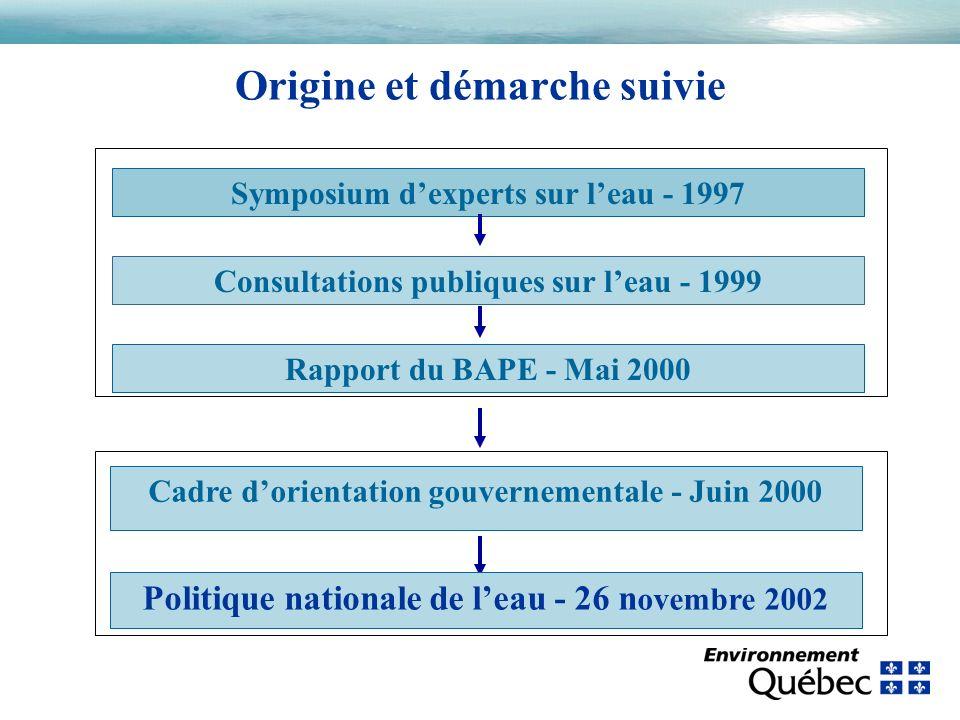 Origine et démarche suivie Cadre dorientation gouvernementale - Juin 2000 Politique nationale de leau - 26 n ovembre 2002 Symposium dexperts sur leau - 1997 Rapport du BAPE - Mai 2000 Consultations publiques sur leau - 1999
