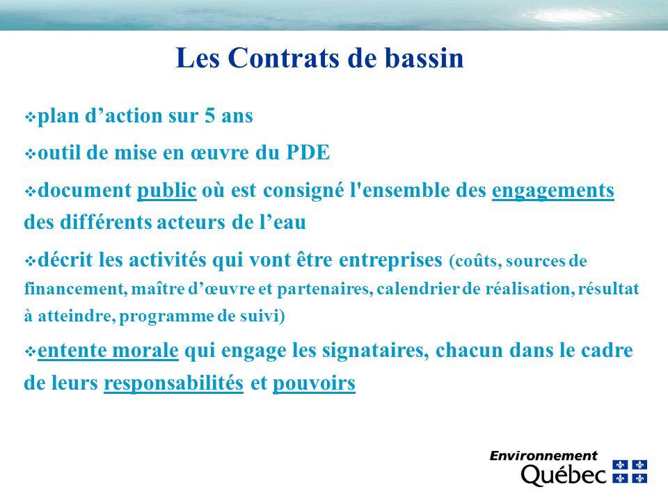Les Contrats de bassin v plan daction sur 5 ans v outil de mise en œuvre du PDE v document public où est consigné l'ensemble des engagements des diffé
