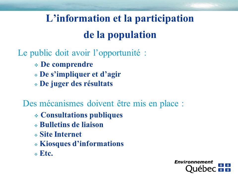 Linformation et la participation de la population Le public doit avoir lopportunité : v De comprendre v De simpliquer et dagir v De juger des résultat