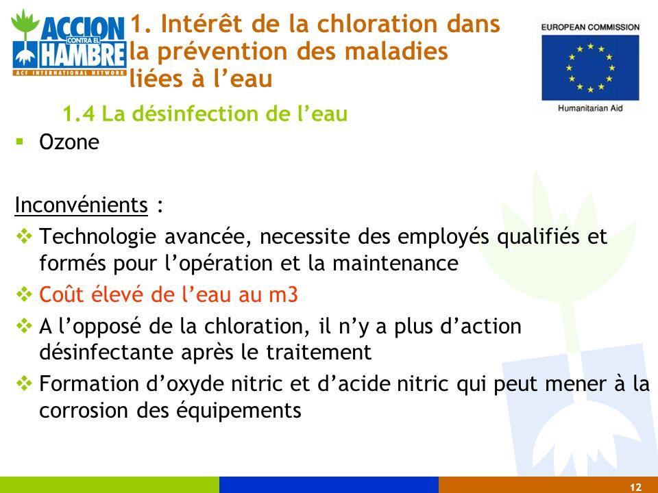 Ozone Inconvénients : Technologie avancée, necessite des employés qualifiés et formés pour lopération et la maintenance Coût élevé de leau au m3 A lop