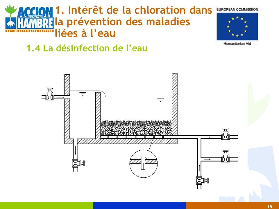 15 1. Intérêt de la chloration dans la prévention des maladies liées à leau 1.4 La désinfection de leau