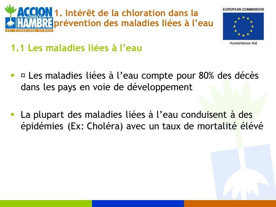 1. Intérêt de la chloration dans la prévention des maladies liées à leau 1.1 Les maladies liées à leau • Les maladies liées à leau compte pour 80% des