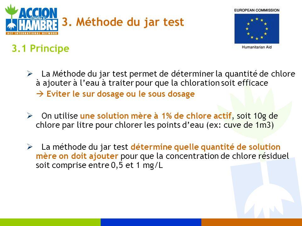 3. Méthode du jar test 3.1 Principe La Méthode du jar test permet de déterminer la quantité de chlore à ajouter à leau à traiter pour que la chloratio