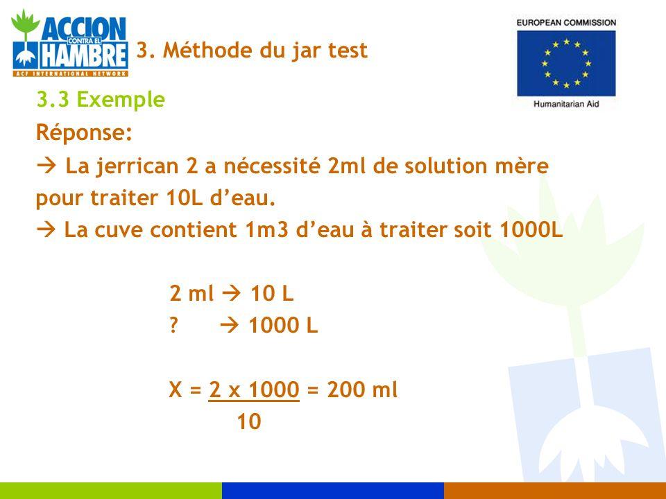3.3 Exemple Réponse: La jerrican 2 a nécessité 2ml de solution mère pour traiter 10L deau. La cuve contient 1m3 deau à traiter soit 1000L 2 ml 10 L ?