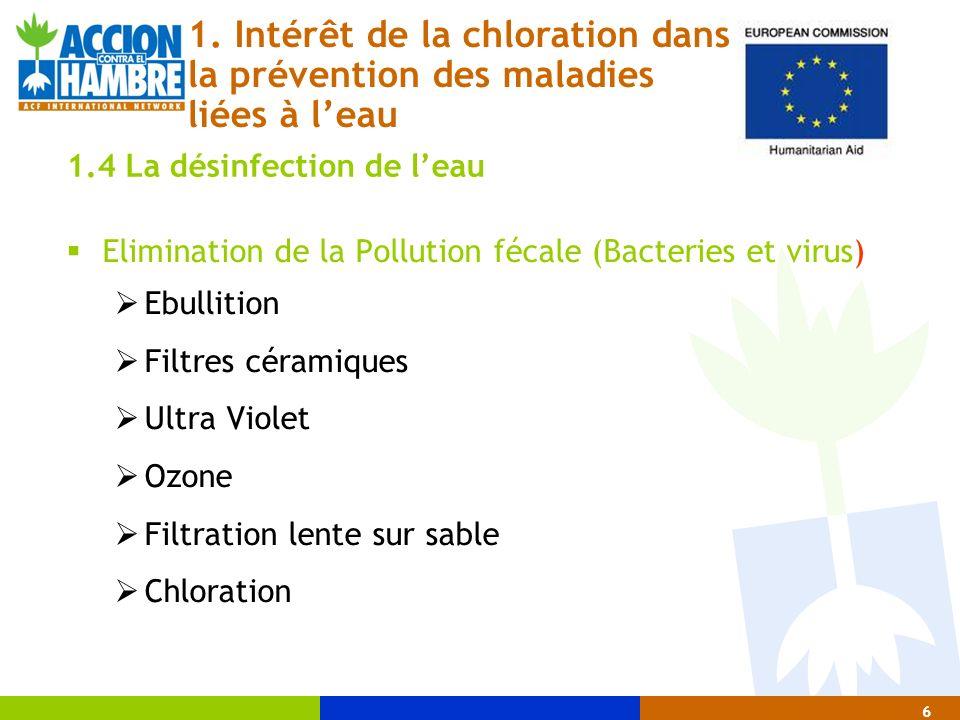 Elimination de la Pollution fécale (Bacteries et virus) Ebullition Filtres céramiques Ultra Violet Ozone Filtration lente sur sable Chloration 6 1. In