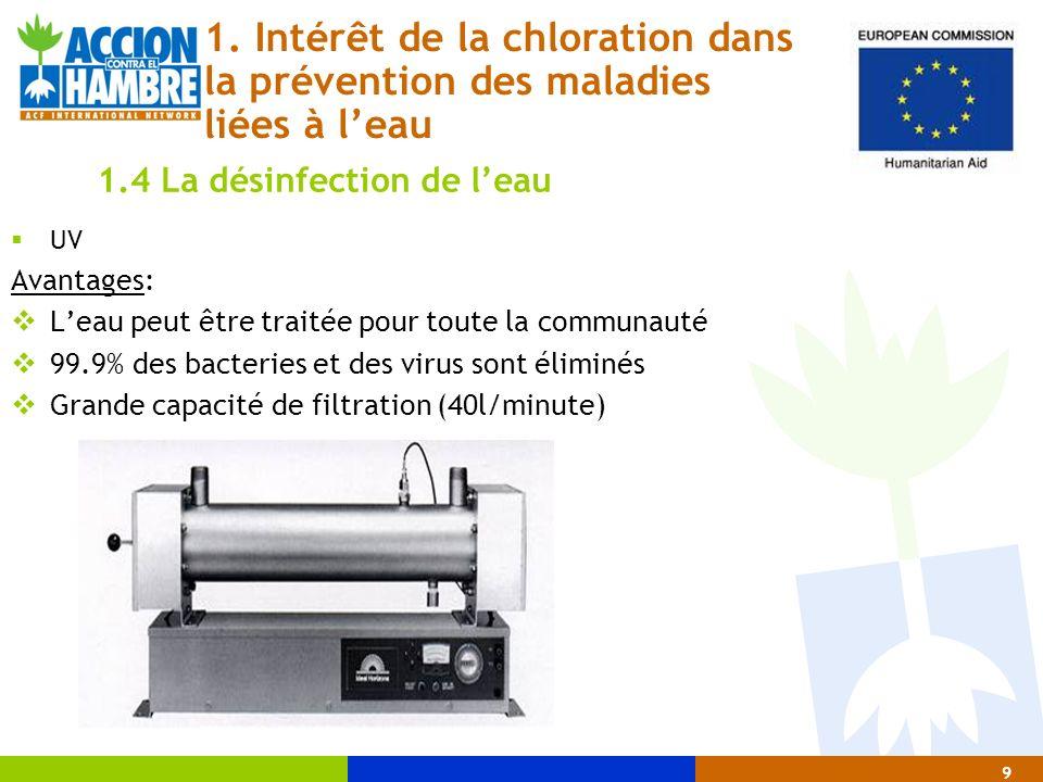 UV Avantages: Leau peut être traitée pour toute la communauté 99.9% des bacteries et des virus sont éliminés Grande capacité de filtration (40l/minute