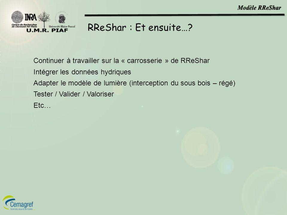 RReShar : Et ensuite…? Continuer à travailler sur la « carrosserie » de RReShar Intégrer les données hydriques Adapter le modèle de lumière (intercept