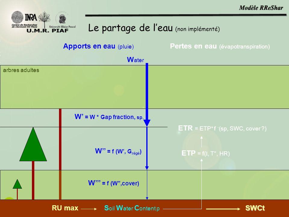W ater W = W * Gap fraction, sp. W = f (W, G régé ) W = f (W,cover) arbres adultes Le partage de leau (non implémenté) Apports en eau (pluie) Pertes e