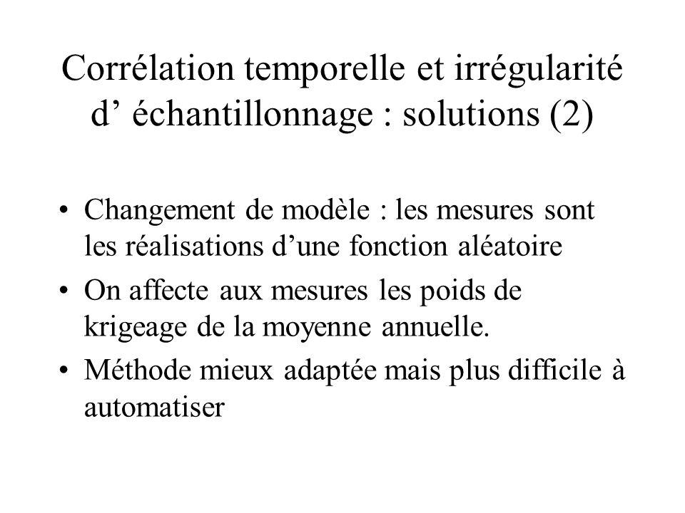 Corrélation temporelle et irrégularité d échantillonnage : solutions (2) Changement de modèle : les mesures sont les réalisations dune fonction aléato