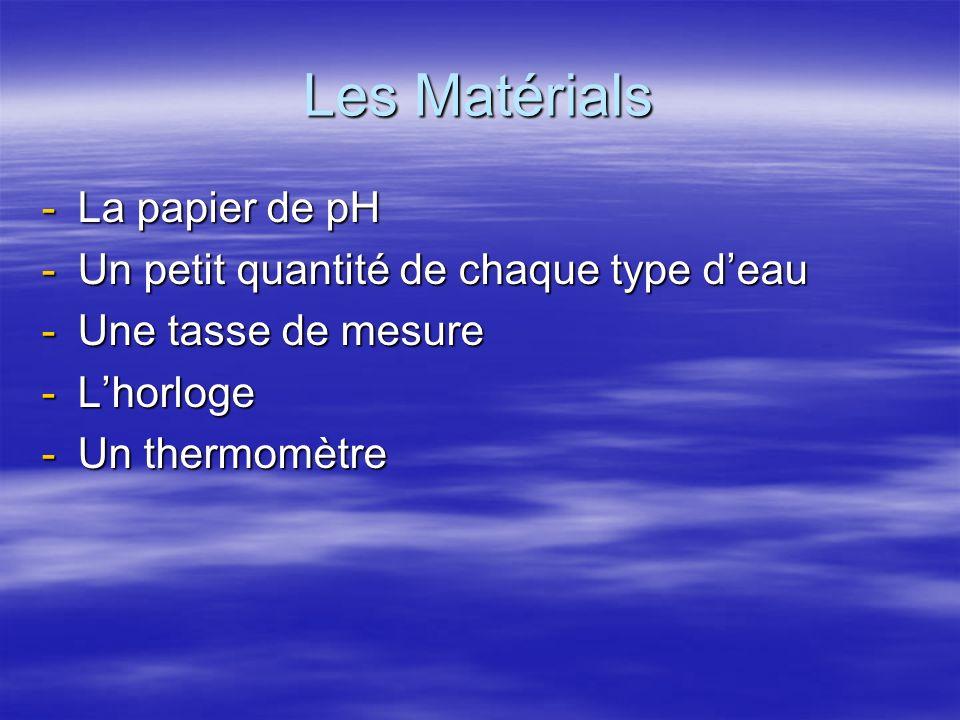 Les Matérials -La papier de pH -Un petit quantité de chaque type deau -Une tasse de mesure -Lhorloge -Un thermomètre