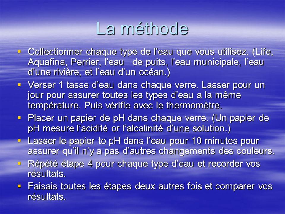 La méthode Collectionner chaque type de leau que vous utilisez. (Life, Aquafina, Perrier, leau de puits, leau municipale, leau dune rivière, et leau d