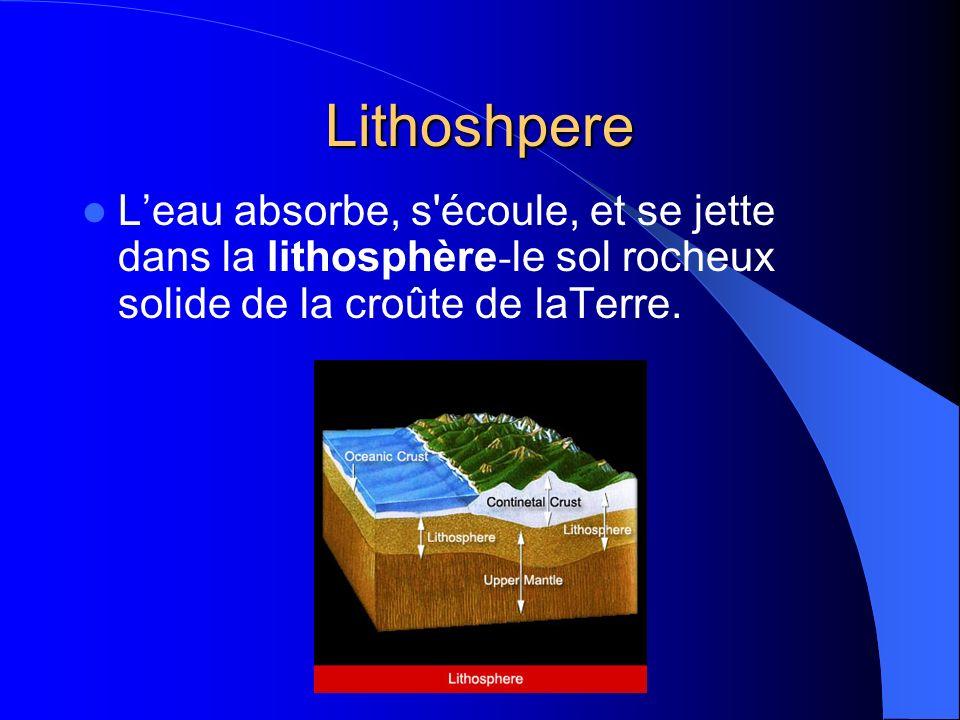 Lithoshpere Leau absorbe, s écoule, et se jette dans la lithosphère - le sol rocheux solide de la croûte de laTerre.