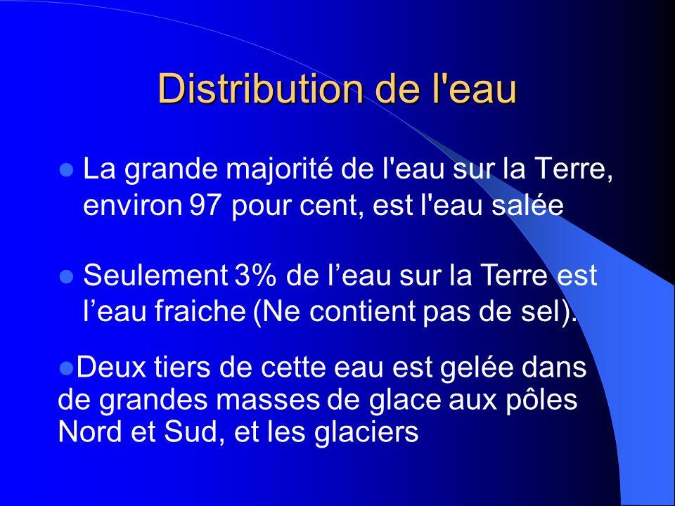 Distribution de l eau La grande majorité de l eau sur la Terre, environ 97 pour cent, est l eau salée Seulement 3% de leau sur la Terre est leau fraiche (Ne contient pas de sel).