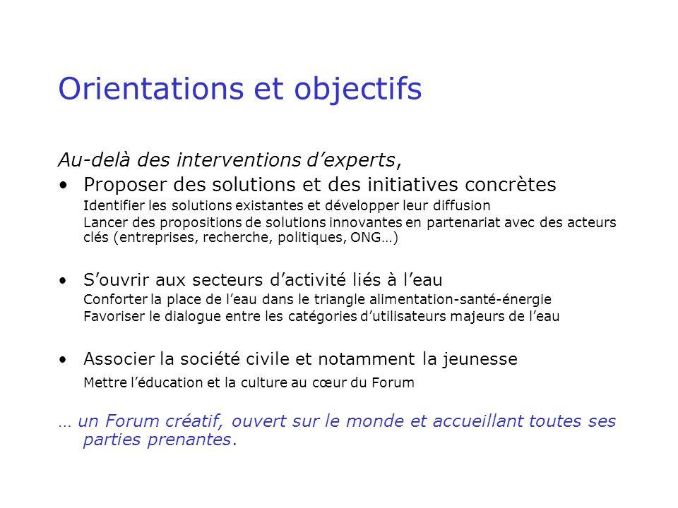 Organisation Comité National Français Comité International du Forum ( assemblée générale, Conseil dadministration, bureau, secrétariat) Conseil Mondial de lEau