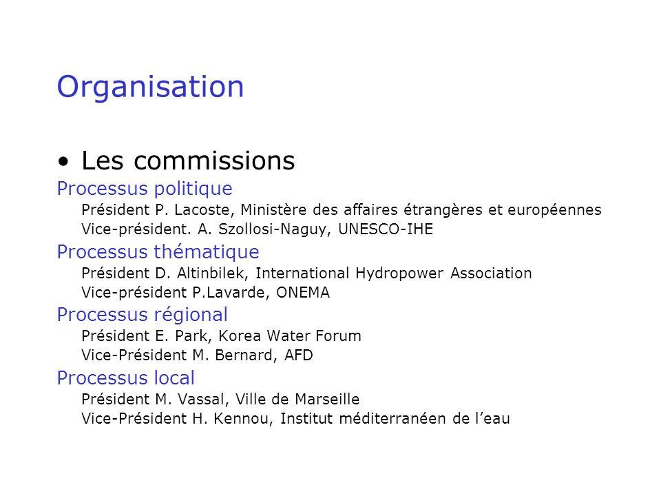 Organisation Les commissions Processus politique Président P.