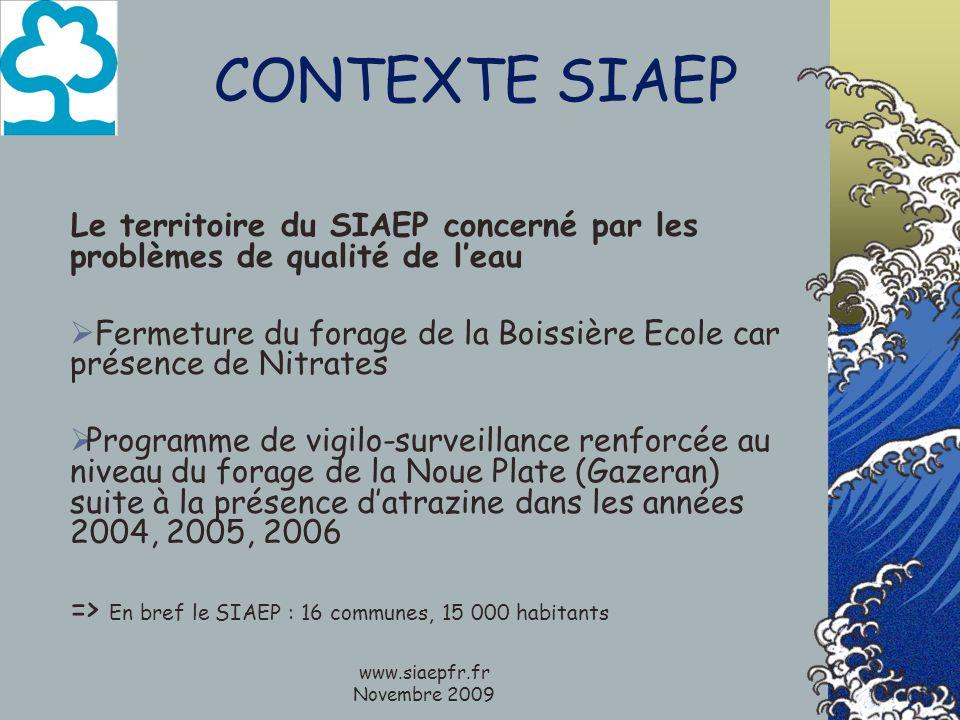 CONTEXTE SIAEP Le territoire du SIAEP concerné par les problèmes de qualité de leau Fermeture du forage de la Boissière Ecole car présence de Nitrates Programme de vigilo-surveillance renforcée au niveau du forage de la Noue Plate (Gazeran) suite à la présence datrazine dans les années 2004, 2005, 2006 => En bref le SIAEP : 16 communes, 15 000 habitants