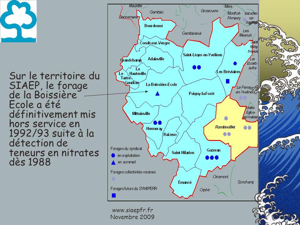 www.siaepfr.fr Novembre 2009 Sur le territoire du SIAEP, le forage de la Boissière Ecole a été définitivement mis hors service en 1992/93 suite à la détection de teneurs en nitrates dès 1988