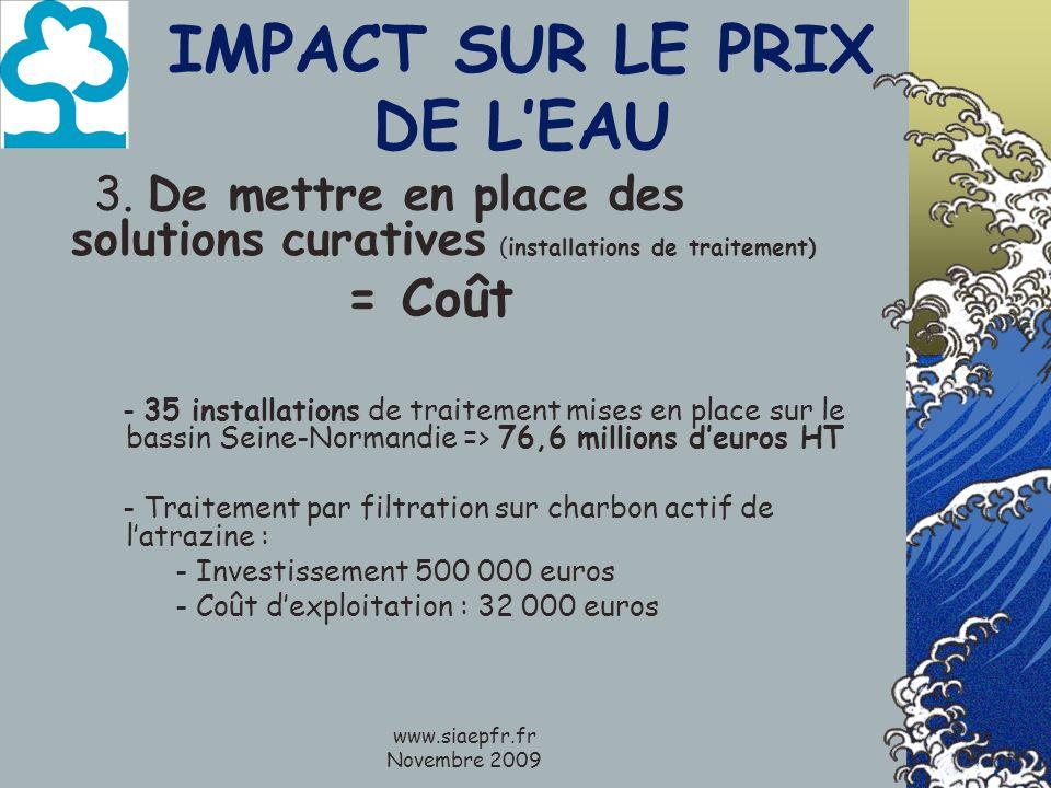 www.siaepfr.fr Novembre 2009 IMPACT SUR LE PRIX DE LEAU 3. De mettre en place des solutions curatives (installations de traitement) = Coût - 35 instal