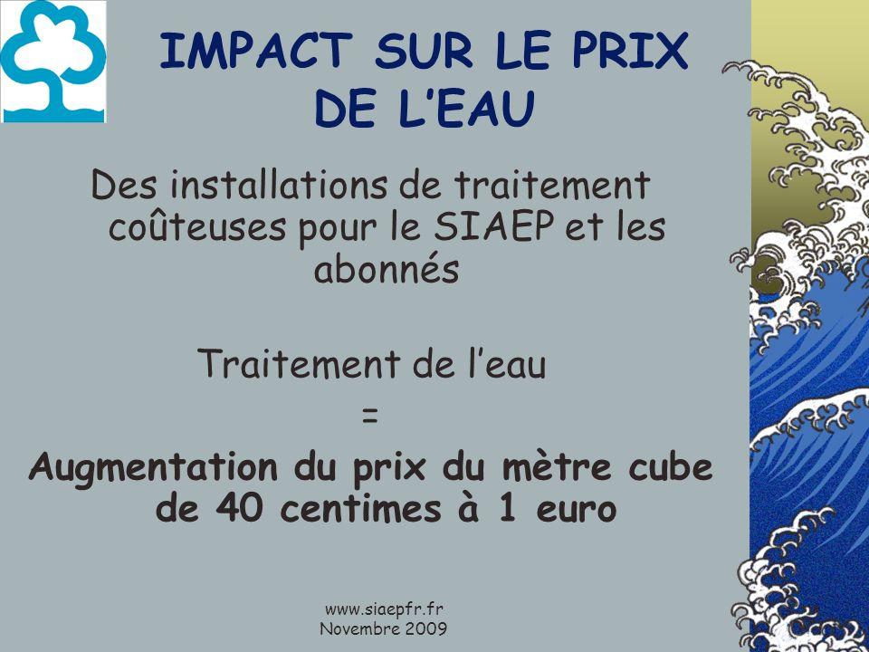 www.siaepfr.fr Novembre 2009 IMPACT SUR LE PRIX DE LEAU Des installations de traitement coûteuses pour le SIAEP et les abonnés Traitement de leau = Augmentation du prix du mètre cube de 40 centimes à 1 euro