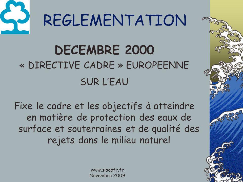 www.siaepfr.fr Novembre 2009 REGLEMENTATION DECEMBRE 2000 « DIRECTIVE CADRE » EUROPEENNE SUR LEAU Fixe le cadre et les objectifs à atteindre en matière de protection des eaux de surface et souterraines et de qualité des rejets dans le milieu naturel