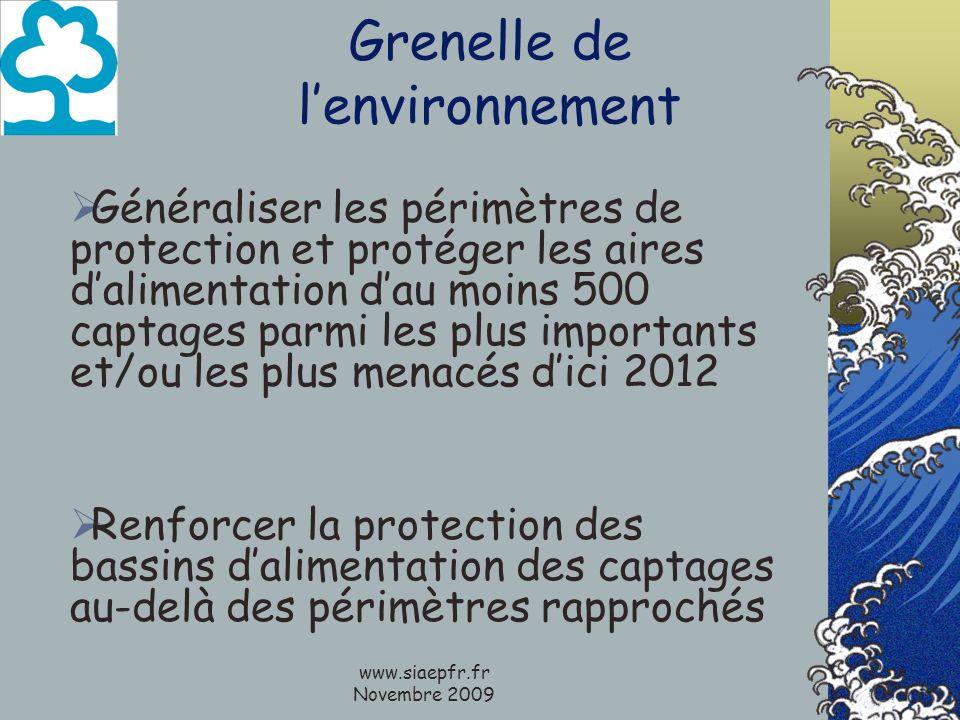 www.siaepfr.fr Novembre 2009 Grenelle de lenvironnement Généraliser les périmètres de protection et protéger les aires dalimentation dau moins 500 cap