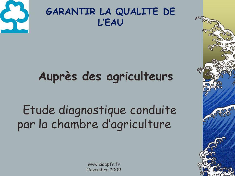 www.siaepfr.fr Novembre 2009 GARANTIR LA QUALITE DE LEAU Auprès des agriculteurs Etude diagnostique conduite par la chambre dagriculture