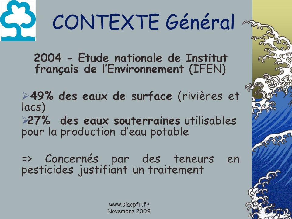 www.siaepfr.fr Novembre 2009 CONTEXTE Général 2004 - Etude nationale de Institut français de lEnvironnement (IFEN) 49% des eaux de surface (rivières e