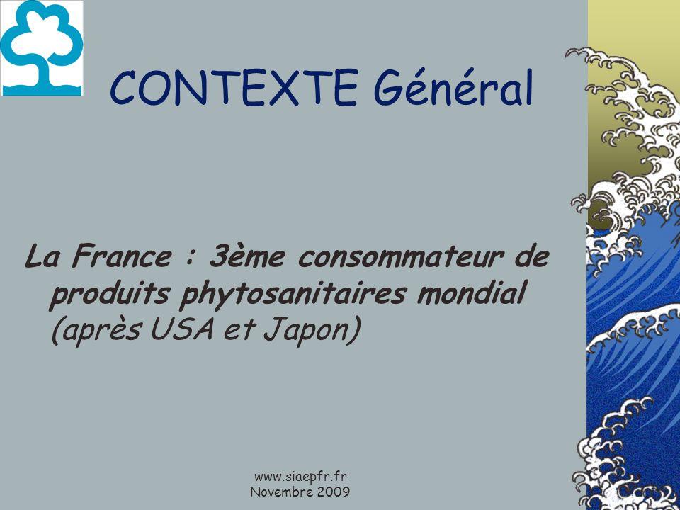 www.siaepfr.fr Novembre 2009 CONTEXTE Général La France : 3ème consommateur de produits phytosanitaires mondial (après USA et Japon)