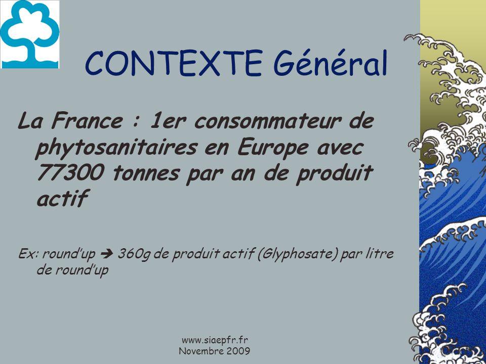 www.siaepfr.fr Novembre 2009 CONTEXTE Général La France : 1er consommateur de phytosanitaires en Europe avec 77300 tonnes par an de produit actif Ex: roundup 360g de produit actif (Glyphosate) par litre de roundup