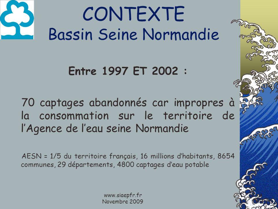 www.siaepfr.fr Novembre 2009 CONTEXTE Bassin Seine Normandie Entre 1997 ET 2002 : 70 captages abandonnés car impropres à la consommation sur le territ