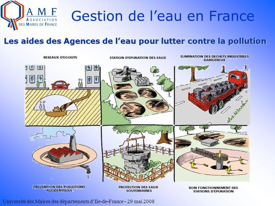 Université des Maires des départements dIle-de-France - 29 mai 2008 Les aides des Agences de leau pour lutter contre la pollution Gestion de leau en F
