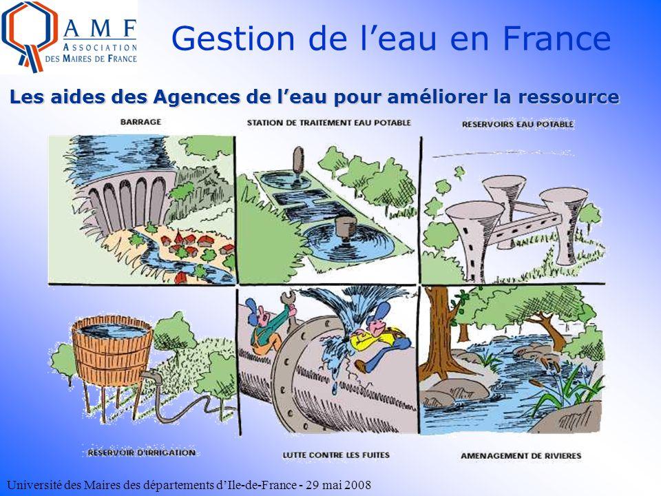 Université des Maires des départements dIle-de-France - 29 mai 2008 Les aides des Agences de leau pour améliorer la ressource Gestion de leau en Franc