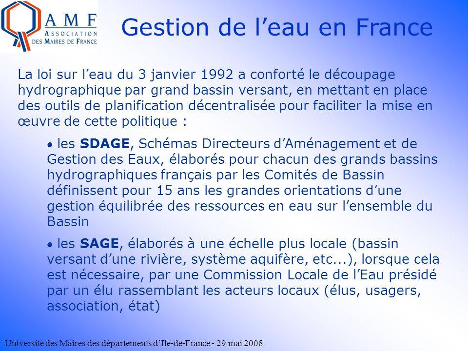Université des Maires des départements dIle-de-France - 29 mai 2008 Gestion de leau en France La loi sur leau du 3 janvier 1992 a conforté le découpag