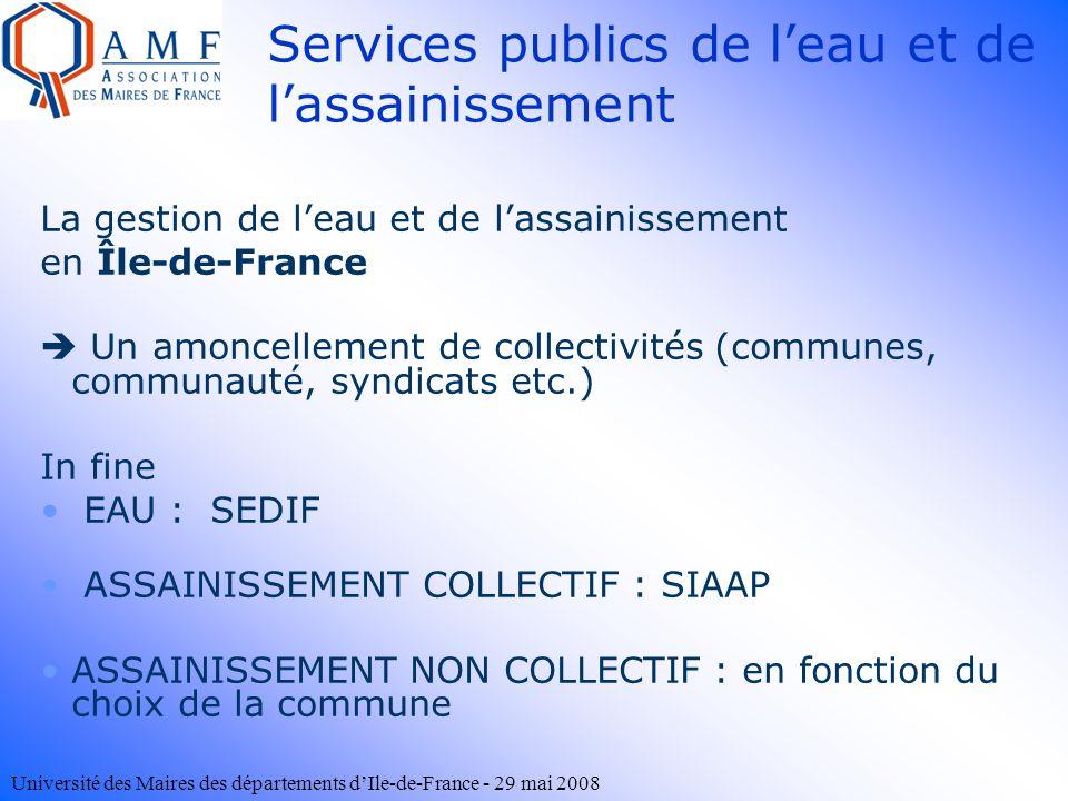 Université des Maires des départements dIle-de-France - 29 mai 2008 Services publics de leau et de lassainissement La gestion de leau et de lassainiss
