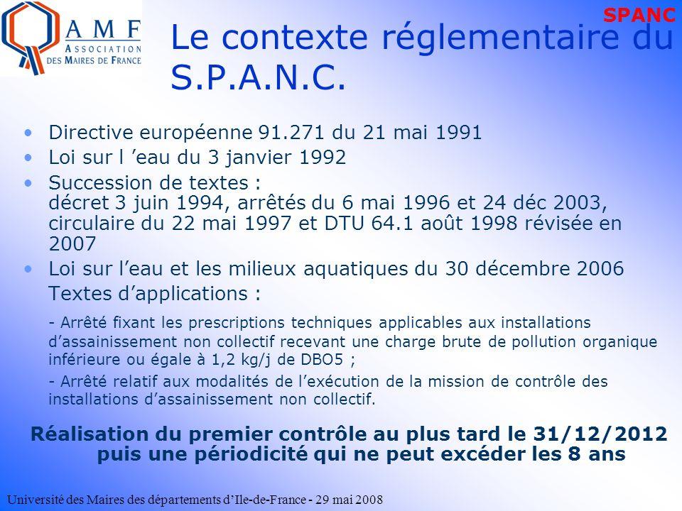 Université des Maires des départements dIle-de-France - 29 mai 2008 Le contexte réglementaire du S.P.A.N.C. Directive européenne 91.271 du 21 mai 1991
