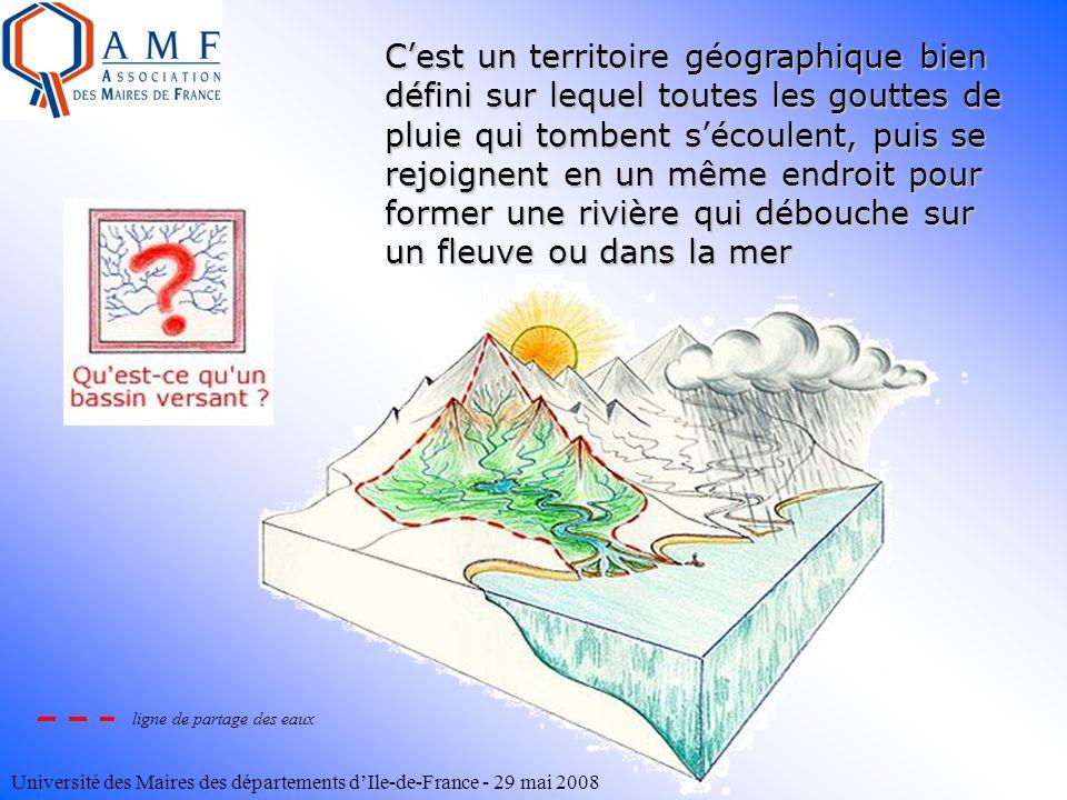 Université des Maires des départements dIle-de-France - 29 mai 2008 Cest un territoire géographique bien défini sur lequel toutes les gouttes de pluie