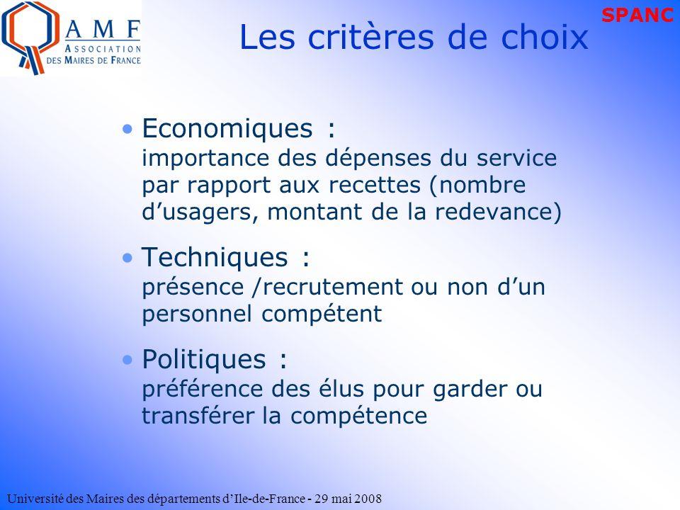 Université des Maires des départements dIle-de-France - 29 mai 2008 Les critères de choix Economiques : importance des dépenses du service par rapport