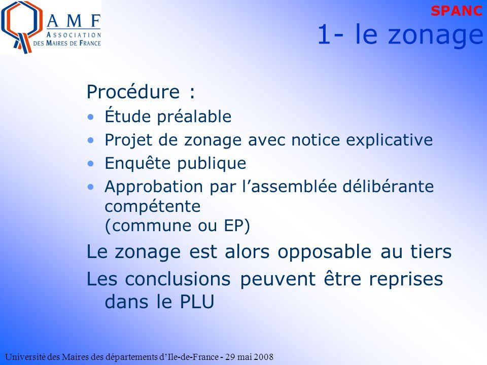 Université des Maires des départements dIle-de-France - 29 mai 2008 Procédure : Étude préalable Projet de zonage avec notice explicative Enquête publi